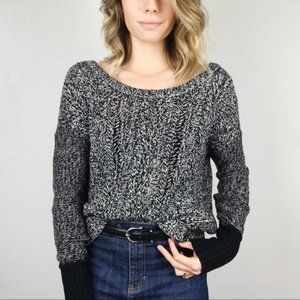 American Eagle Cable Knit Two Toned Black White Oversized Sweater Medium